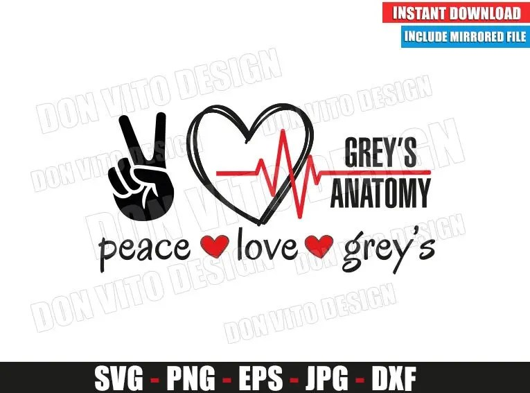 Download Peace Love Greys Anatomy (SVG dxf png) Hand Heartbeat TV ...