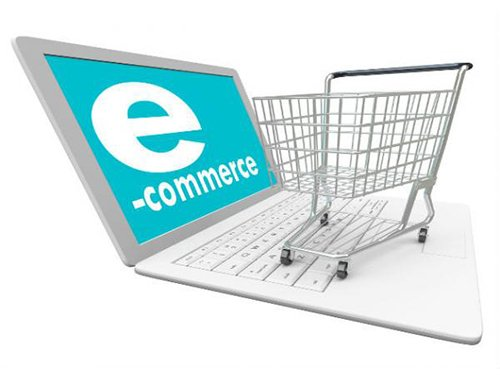 Ecommerce Website Designers in Oakland png of ecommerce cart on top of computer