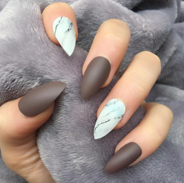 Brown Matte Marble Stiletto Doobys Nails