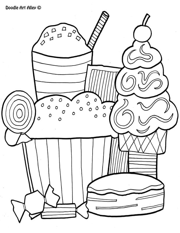 Food Coloring Pages Doodle Art Alley