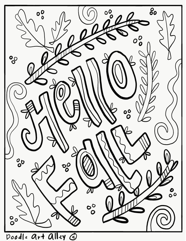 Fall Coloring Pages Doodle Art Alley