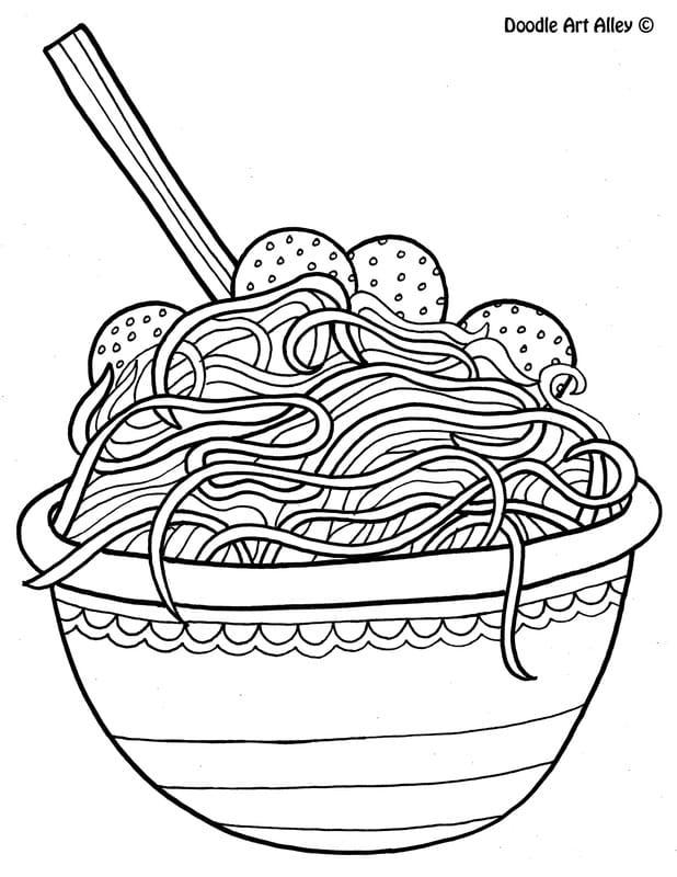 Italian Spaghetti Coloring Page