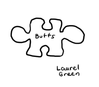 """a drawing of a puzzle piece with the word """"butts"""" written on it"""