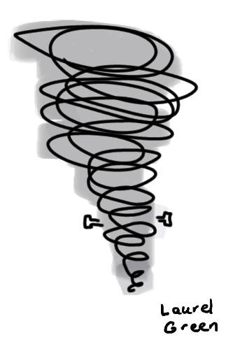 a drawing of a tornado with bolts in its neck