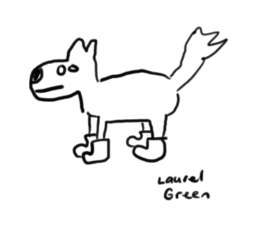 a drawing of a dog wearing boot