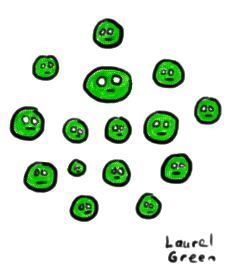 a drawing of a bunch of peas with faces