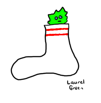 a drawing of a monster peeking out of a sock