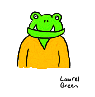 a drawing of a green monster wearing a v-neck sweater