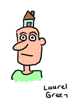 a drawing of a man with a tiny house on his head