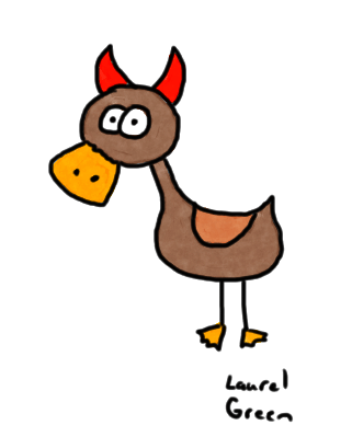 a drawing of a duck with devil horns