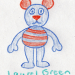 a drawing of a striped bear