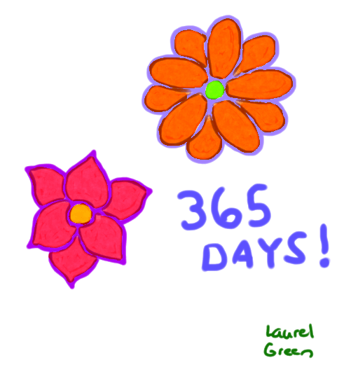 a drawing of two flowers and 365 days