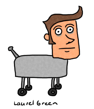 a drawing of a man's head on a robot dog's body