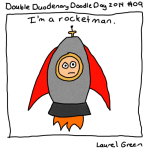 a drawing of laurel in a rocket