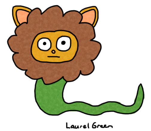 a drawing of a creature that is part lion and part snake
