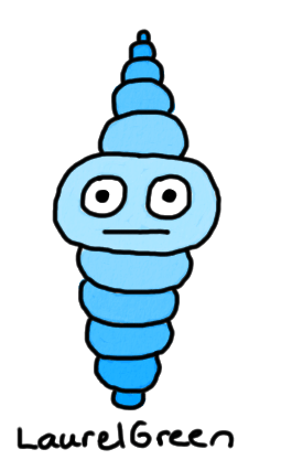 a drawing of a blue ball creature
