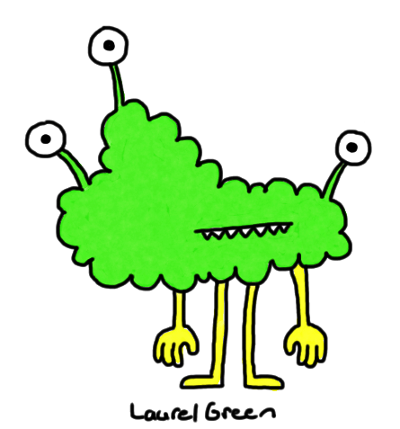 a drawing of a lumpy green creature with three eyes