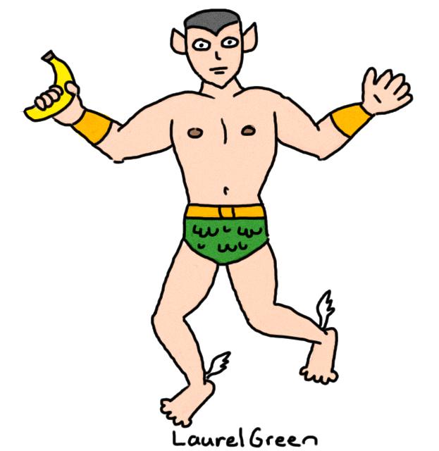 a drawing of gay namor the sub-mariner holding a banana