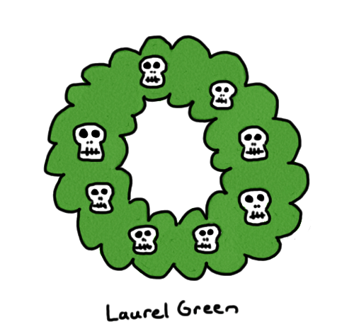 a drawing of a christmas wreath decorated with skulls