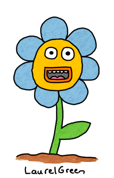 a drawing of a blue flower with manic face on it
