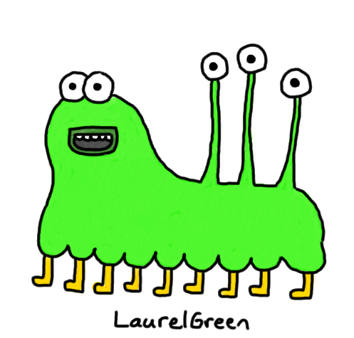 a drawing of a creature with two normal eyes, three eyes on eyestalks and lots of legs