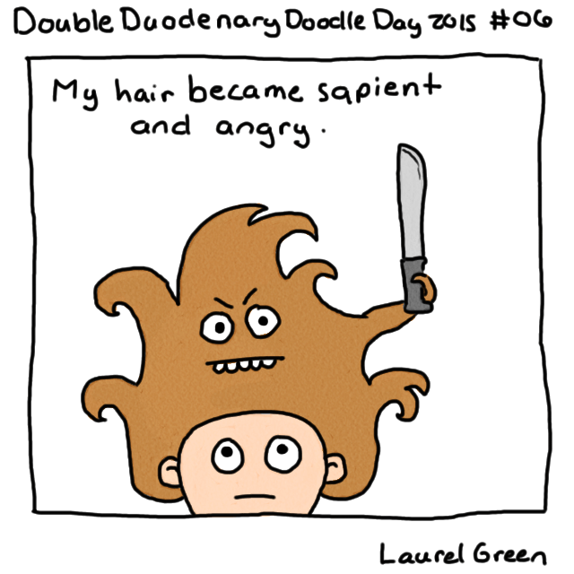 a drawing of laurel green's hair with a face on it and holding a machete