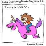 a drawing of laurel green riding a pink unicorn