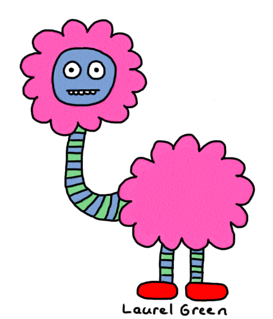 a drawing of a fluffy creature with a long neck wearing red shoes
