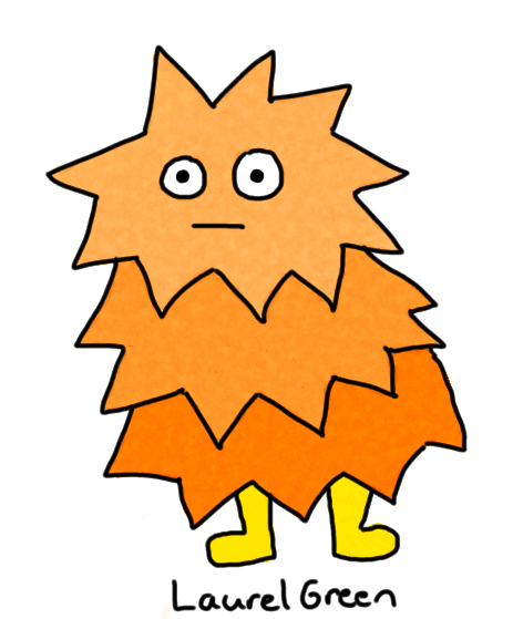a drawing of a spiky orange thing