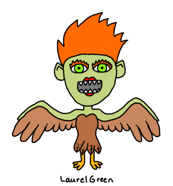 drawing of a harpy