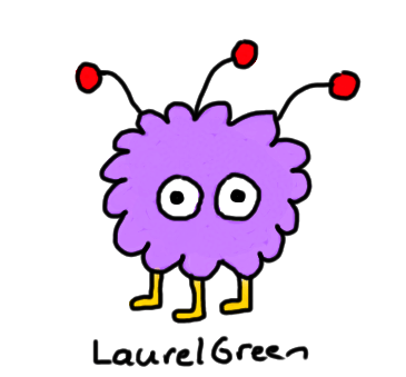 a drawing of a small purple fuzzy thing with three legs