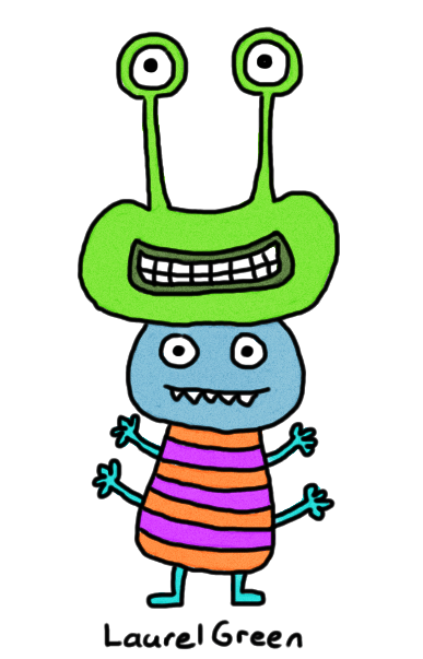 a drawing of a creature wearing a head on its head