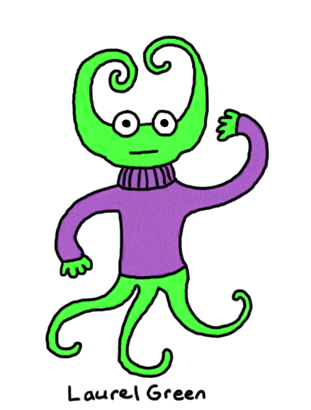 a drawing of a squid person wearing a sweater