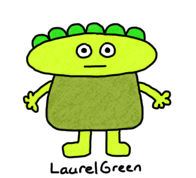 a drawing of a green guy