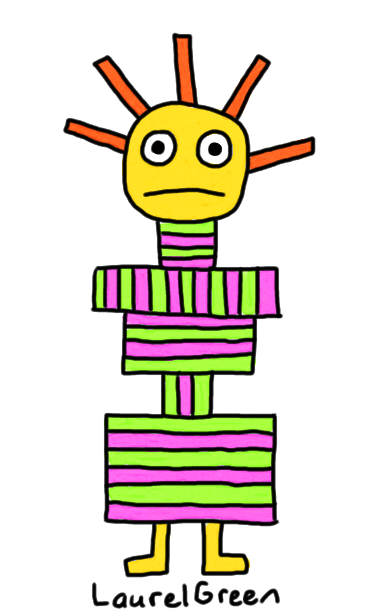 a drawing of a weird, stripy rectangle person