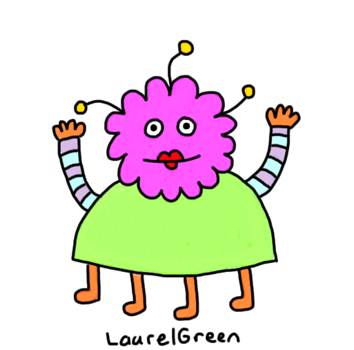 a drawing of a happy alien lady