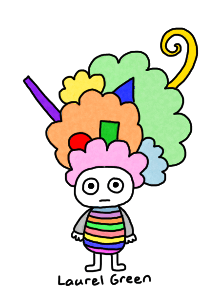 a drawing of a person with crazy hair