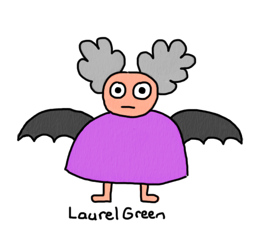a drawing of an old man with bat wings