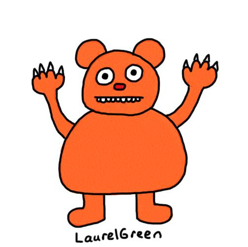 a drawing of an orange bear