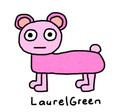 a drawing of a pink bear