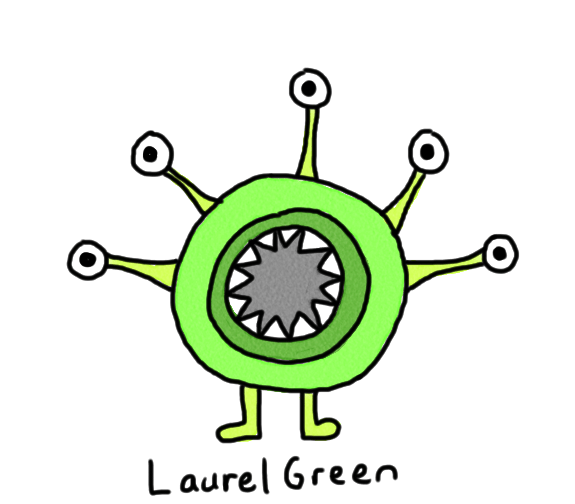 a drawing of a green, round critter with five eyes