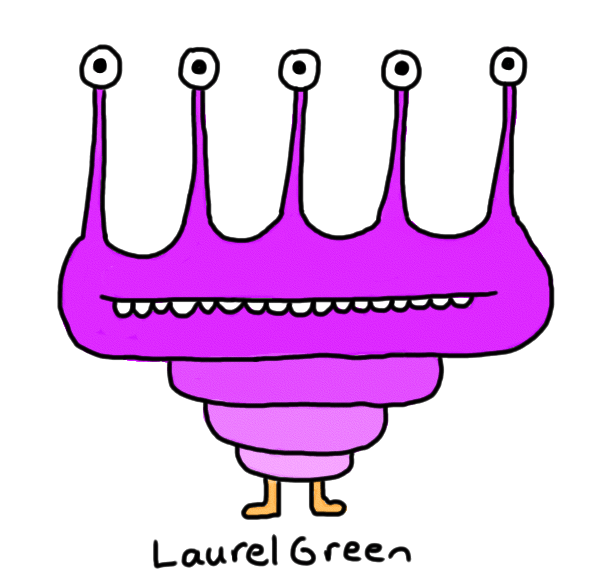 a drawing of a purple critter with five eyestalks