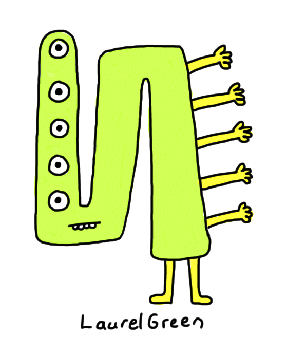 a drawing of a bent creature with five eyes and five arms