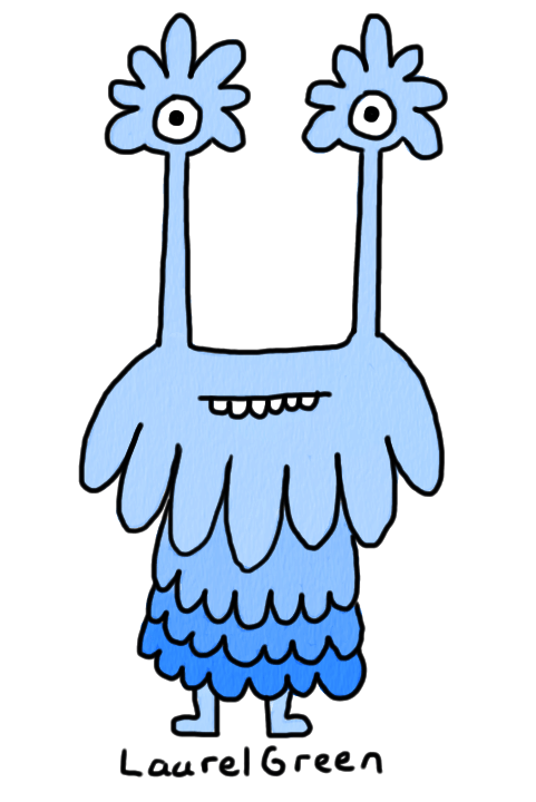 a drawing of a blue thing