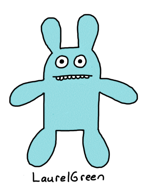 a drawing of a green rabbit
