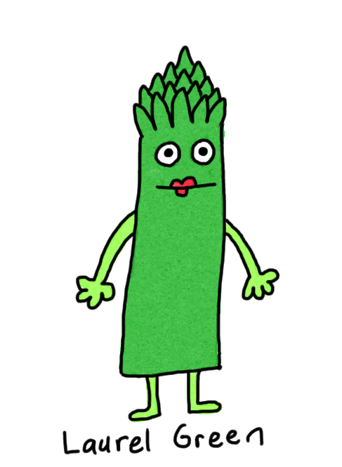 a drawing of an asparagus lady