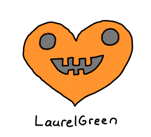 a drawing of an orange halloween heart