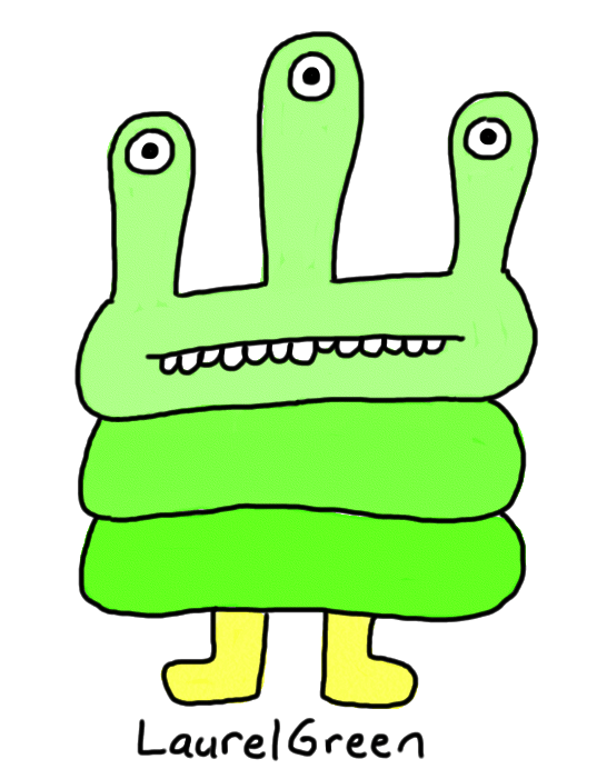a drawing of a green critter with three eyes