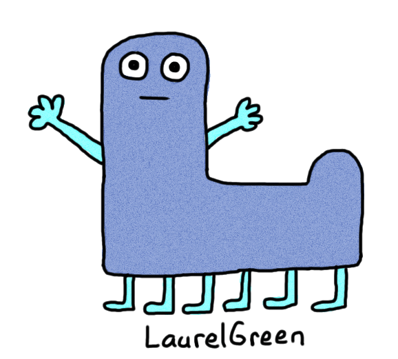 a drawing of a blue thing with six legs
