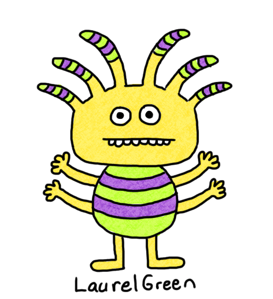 a drawing of a stripey creature with four arms